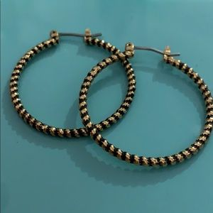Stella and Dot black and gold rope hoops